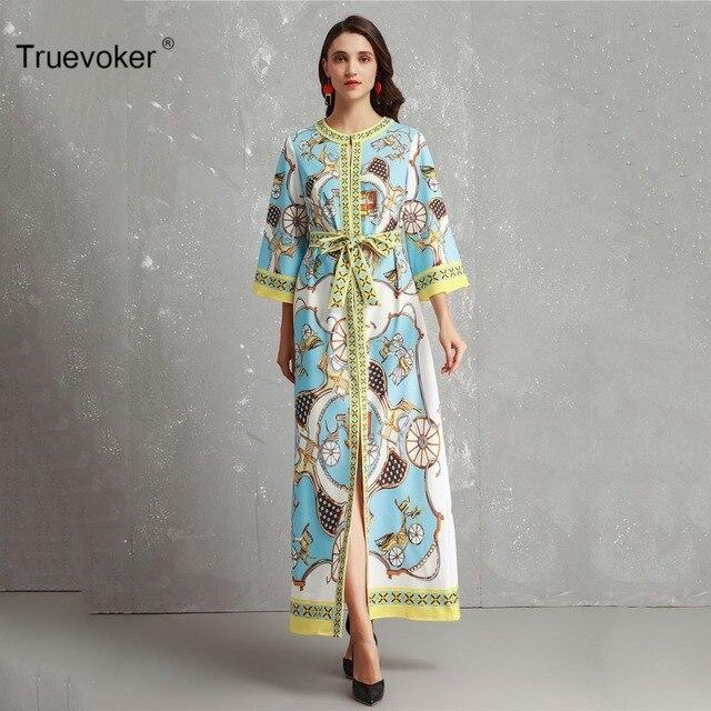 Truevoker Europe Designer Resort Maxi Dress Women s Long Sleeve Printed  Maxi Robe Femme Ete Plus Size 4fc329cc8f15