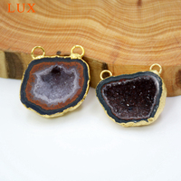 Natural Drusy Agates Geode Pendant shiny druzy jewelry Gold Electroplated Edges double Bail charms for necklace