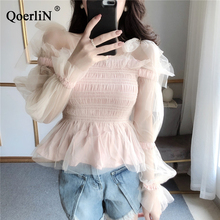 QoerliN Korean Clothing Women White Blouse Fashion Sexy Off Shoulder Bowtie Ruffles Tops Pink Sweet Mesh Shirts Female Summer
