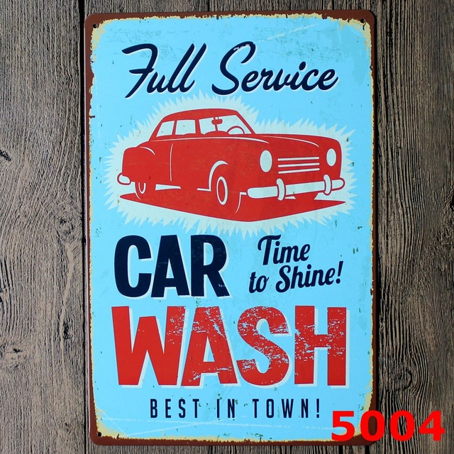 Full service car wash printing metal wall sticker europe design tin sign iron antique tin painting