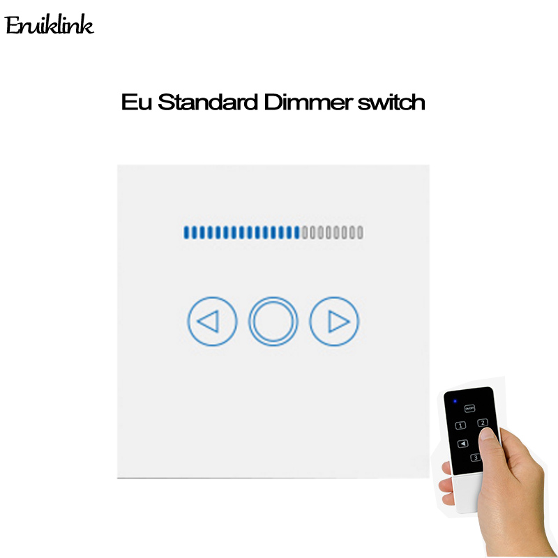 EU Wifi Dimmer Switch 433MHZ,Touch Panel Wireless Remote Wall Light Dimmer Control Switch Via Broadlink Rm Pro for smart home vhome eu uk smart home dimmer switch glass panel wall light wall touch dimmer switch for dimmable spot lights rf 433mhz remote