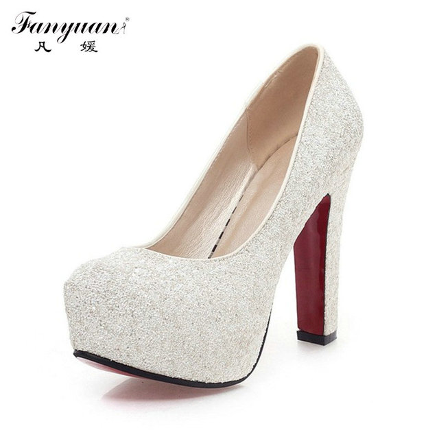 2017 Women High Heels  Wedding Shoes Lady  Platforms Silver Glitter Rhinestone Bridal Shoes Square High  Heel Party Pump