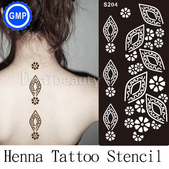 1 Pc Baru Henna Tangan Tato Stensil Bunga Berkilau Airbrush Tribal
