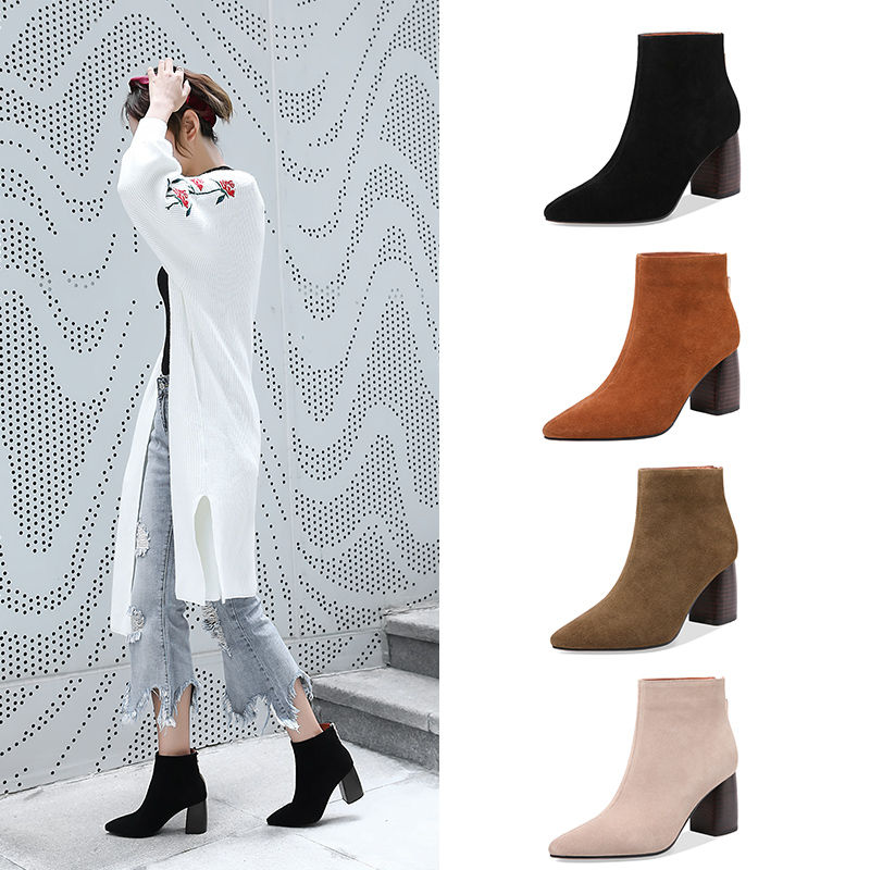 2019 New Hot Cow Suede Women Ankle Boots Casual Platform Pointed Toe  Winter Shoes Solid Color Zipper Warm All Match