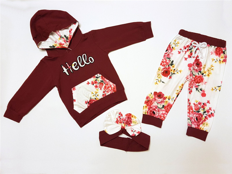 Fashion Sportswear Floral Toddler Baby Kids  Girl Outfits Clothes Tops +Pants girl Long Sleeve o-neck children's clothing D30