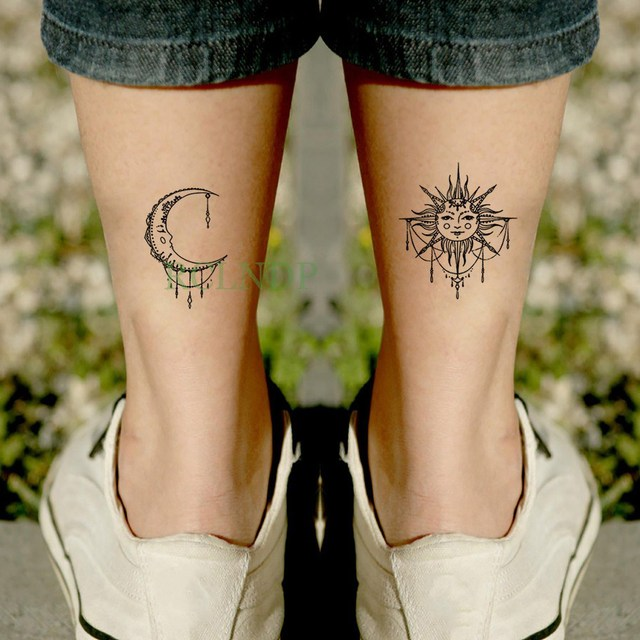 0c6e3b62a Waterproof Temporary Tattoo Sticker sun Moon Fake Tatto Flash Tatoo  Tatouage Wrist Foot Hand Arm For Girl Women Men Kids