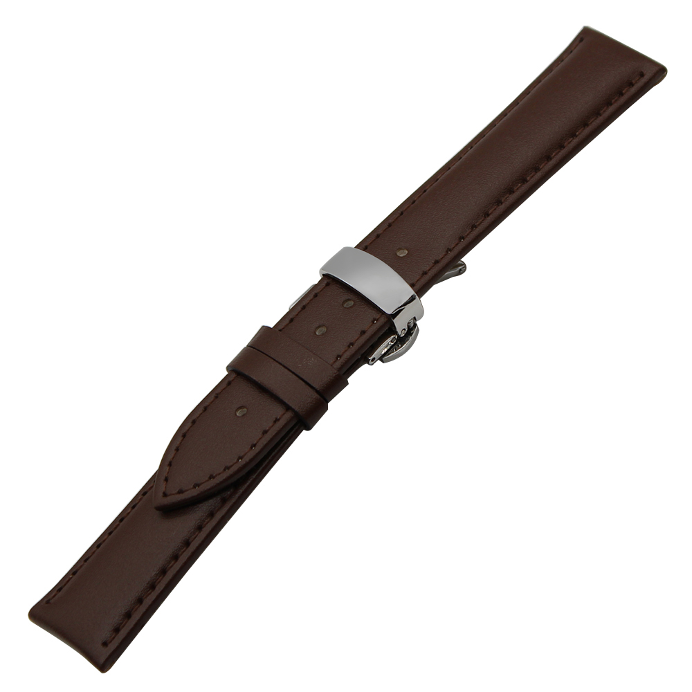 Genuine Leather Band For Huawei Watch 2 Pebble Time Round 20mm Men Bradley Timepiece Butterfly Buckle Strap Bracelet Black Brown