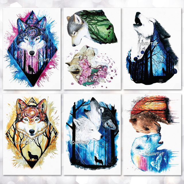 2e81fd469 Watercolor Cool tiger wolf Pattern Temporary Tattoo Stickers Waterproof  Women Fake Hand Tattoos Adult Men Body Art