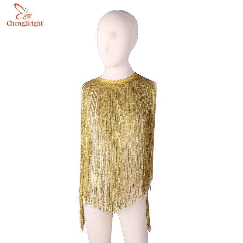 CHENGBRIGHT 2Yards Gold Silk Sparkling Fringe Trim Tassel Fringe Trimming Latin Dress Stage Clothes Accessories Lace Ribbon DIY