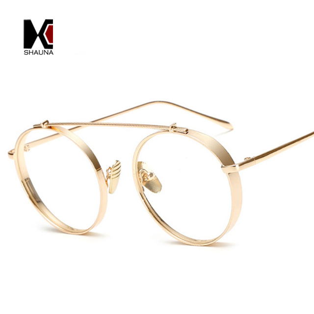 2aaa883919 SHAUNA Wide Bridge Fashion Thick Metal Glasses Frame Women Round Eyeglasses  Retro Men Anti-Blue