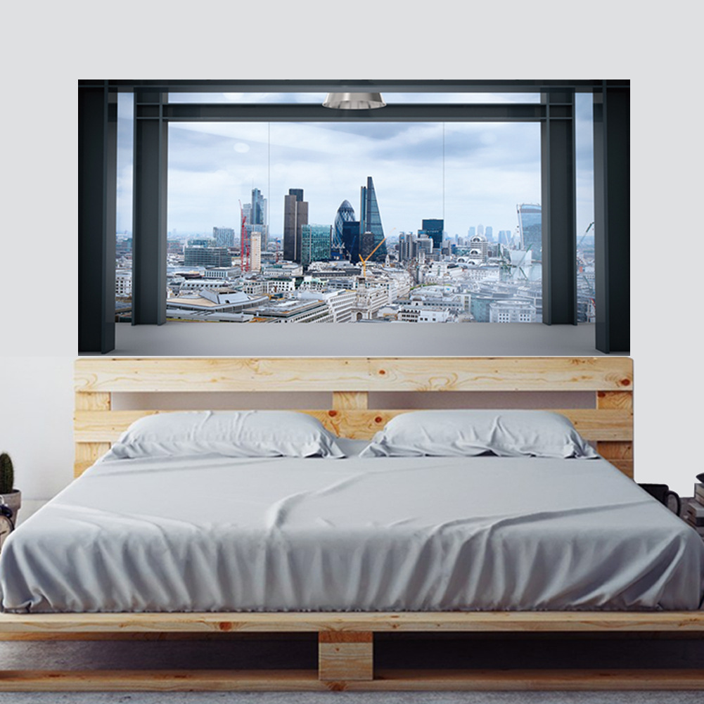 Creative Large Size Wall Stickers 3D Fake Window Metropolis Pattern for Bedroom Bed Head Decoration DIY Mural Art Picture