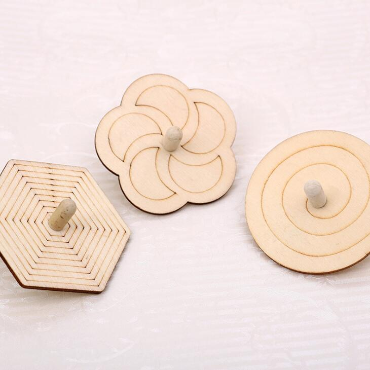 White embryo wooden top childrens painting gyro DIY handmade creative material kindergarten gift BS103