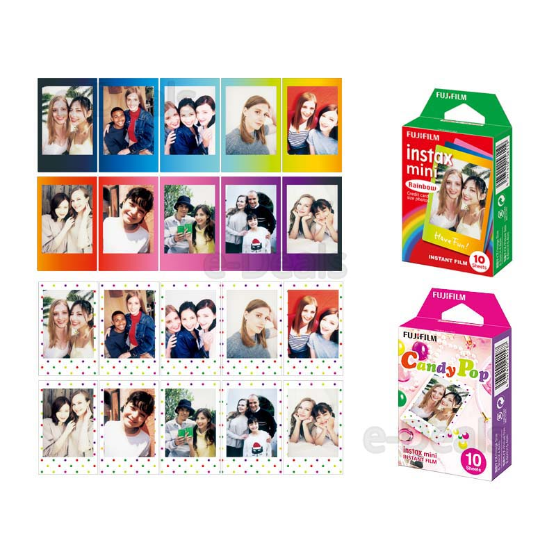 Fujifilm Instax Mini Instant Film Rainbow & Staind Glass & Candy Pop & SHINY STAR Film  10 Sheets X 4 Assort Value Set-in Film from Consumer Electronics    3