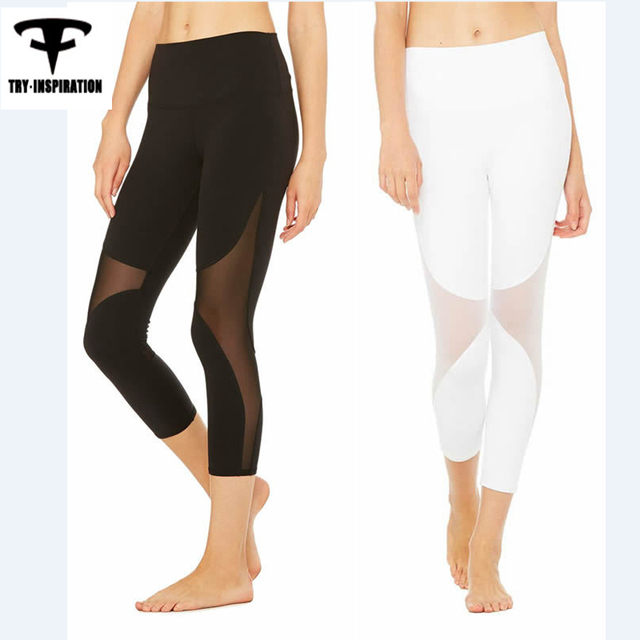 d8f5708585bea Fitness Yoga Leggings Women's Mesh Splice Yoga Pants Elastic 3/4 Sport  Leggings Training Running Tights Womens