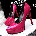 2016 Plataforma Da Marca New Design Bombas Sexy Preto Rosa Apontou Toe Finos Saltos Altos Mulheres Bombas Sapatos de Casamento Vermelho SMYDS-A0078