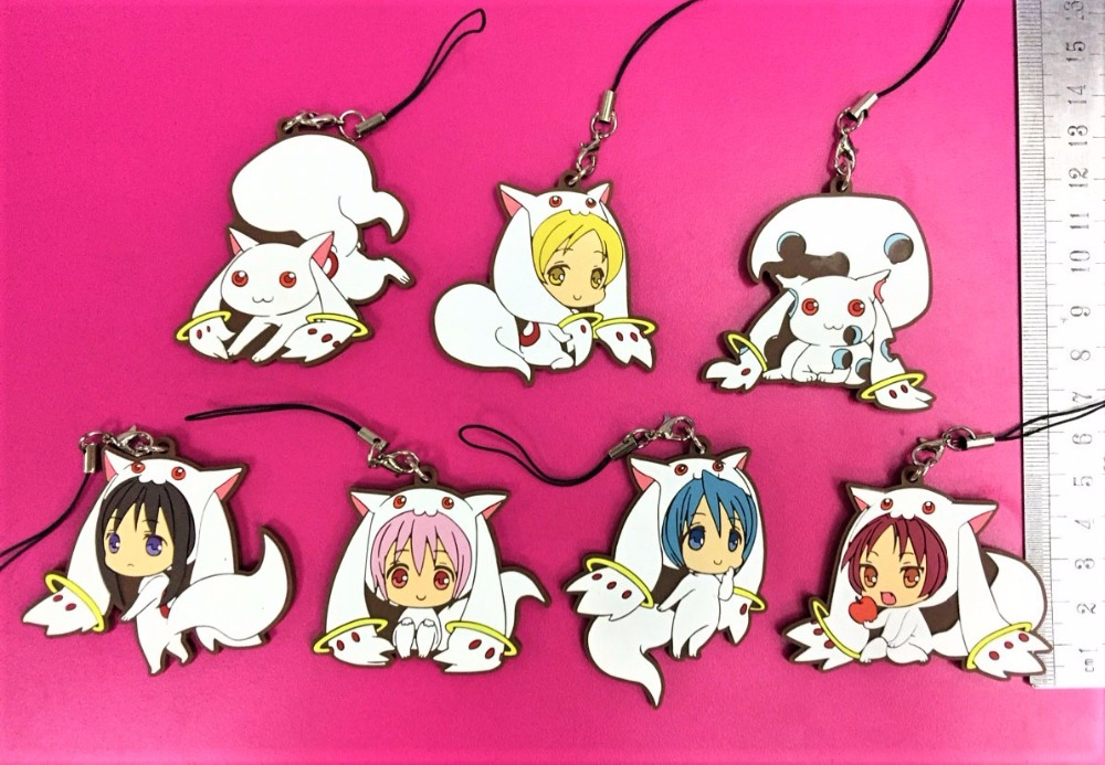 Puella Magi Madoka Magica Anime Figure Rubber Strap Keychain Keyring Phone Charm