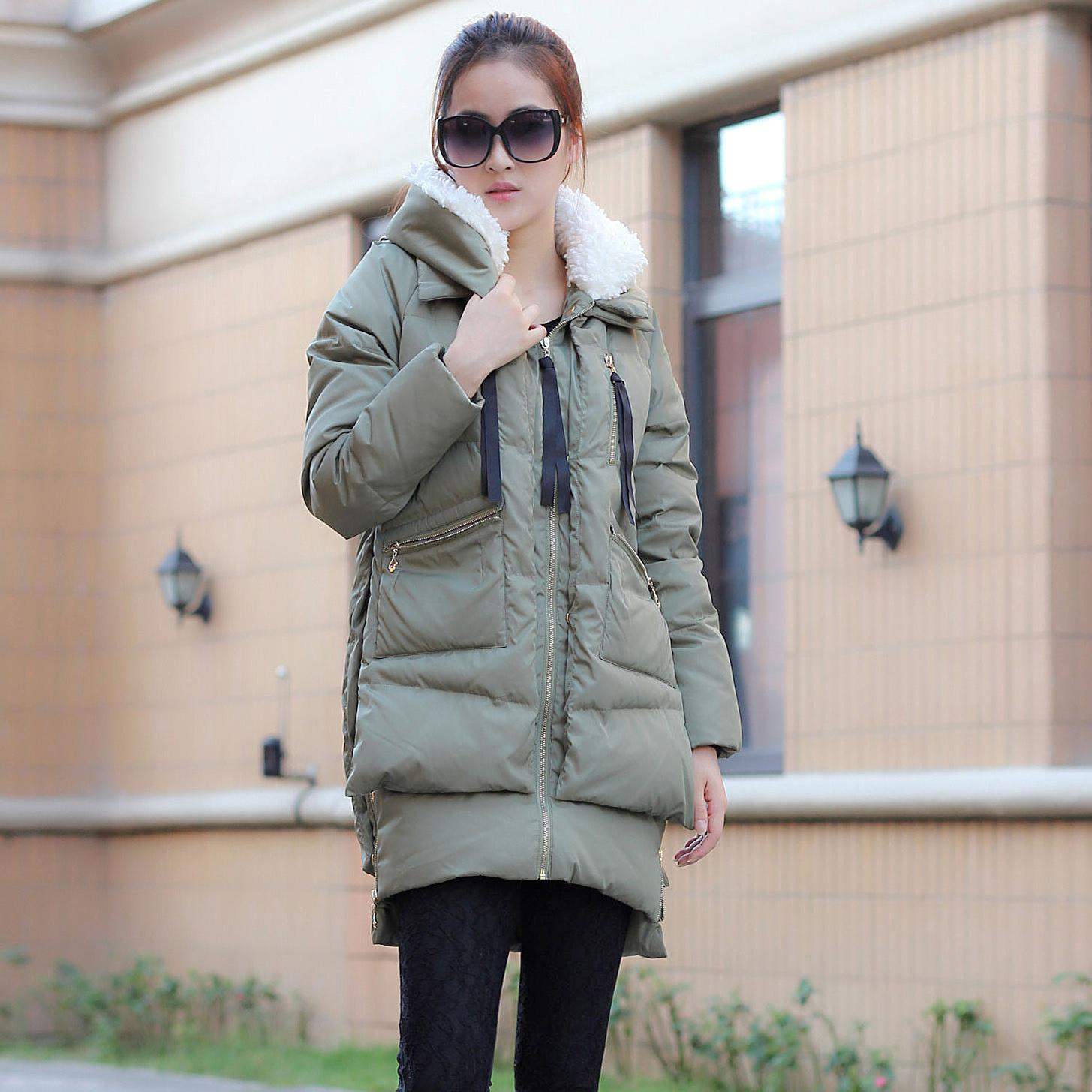 2013 New Authentic Military Jacket WomenS Oversized Long Thick Winter Warm Down Clothes Female Loose Wide-Waisted Outwear H1228