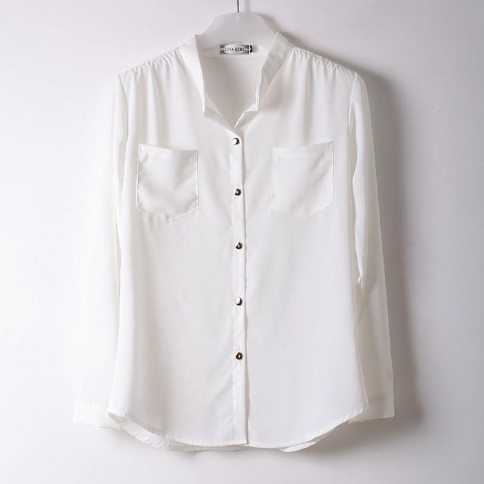Women long sleeved white chiffon blouse collar long shirt two ...