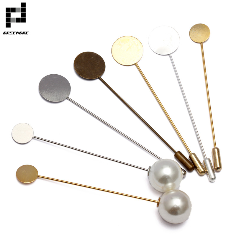 BASEHOME 10pcs 10mm/15mm Blank bases Safety Brooch Pins Copper Lapel Pin Base Blank Stick Pin Brooch Settings Bezel Trays star lapel pin