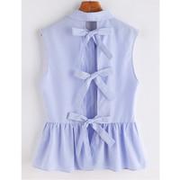 Blue Striped Bow Tie Split Back Blouse Women 2017 Summer Sleeveless Ruffles Blouses Shirts Women Vintage