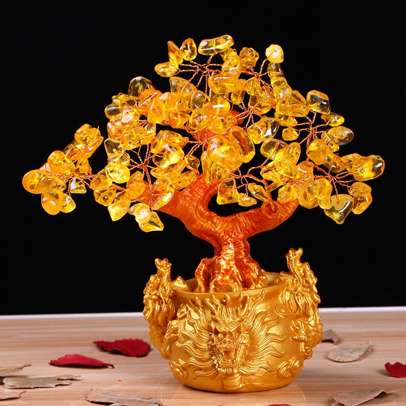 Natural Crystal Topaz Stone Three Dragons Rich Tree Bosai Opening Gifts Wedding Home Decoration Gift Mascot Lucky Bosai Plant
