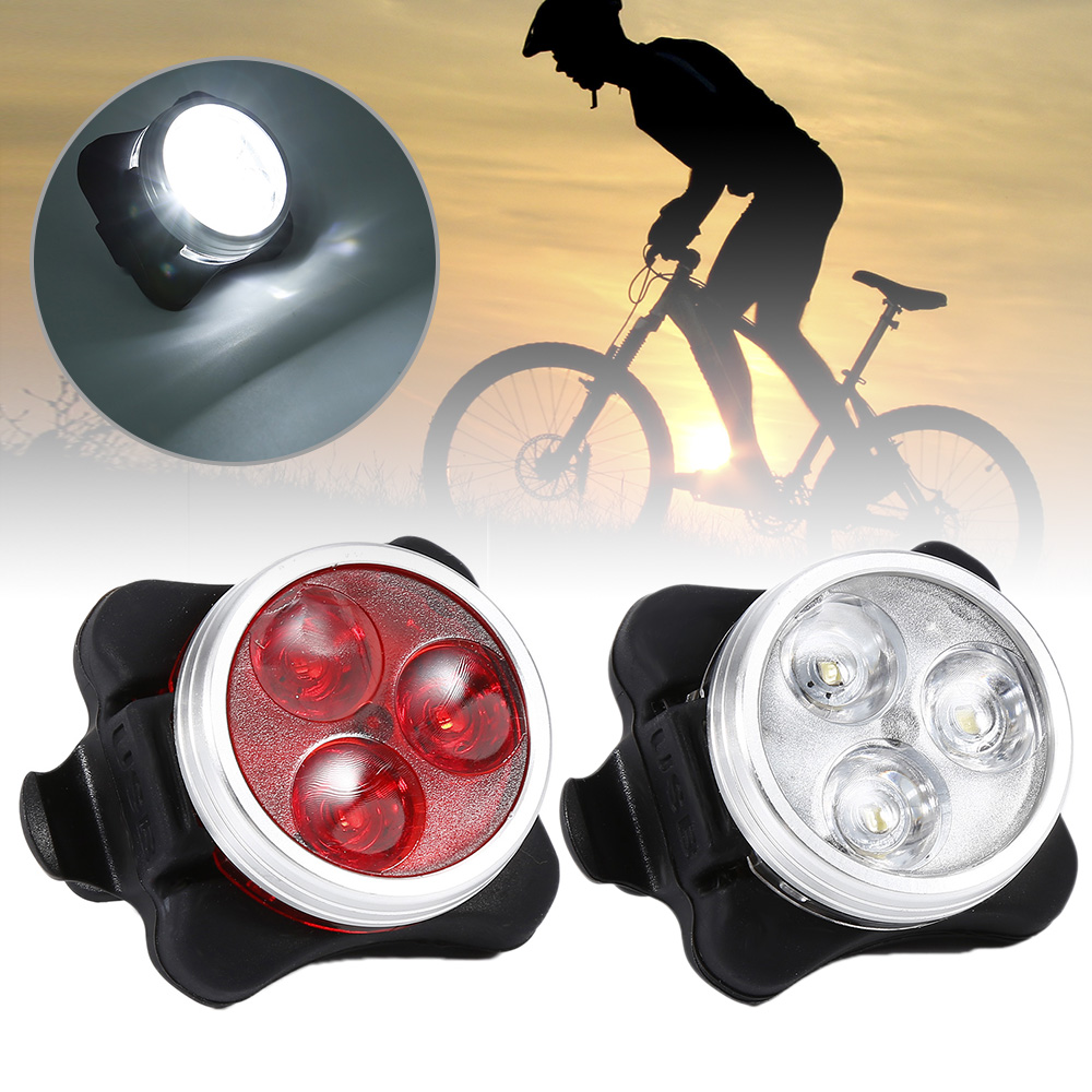 Aubtec Cycling Bicycle Bike 3 LED Head Front Rear Tail Light Rechargeable Battery With USB Charging Cable 2 Color Available