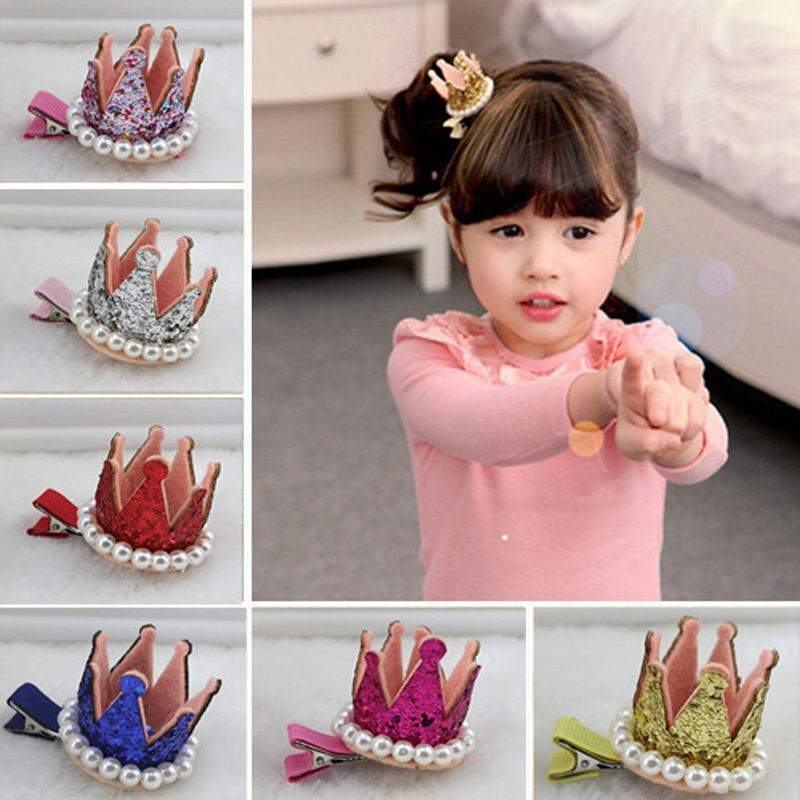 1PCS Baby Girl Child Princess Pearl Crown Hair Clips Party Accessory Jewelry Gift