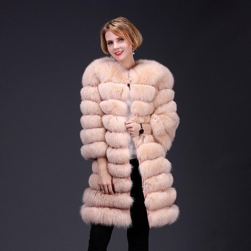 2018 réel manteau de fourrure de renard veste détachable manches fond transforme long chaud haute couture femmes fourrure naturelle épais style de rue
