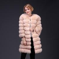 2018 real fox fur coat jacket detachable sleeve bottom transforme long warm high fashion women natural fur thick street style