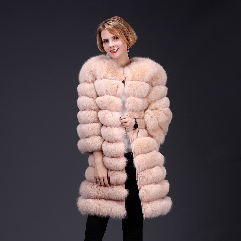 2018 real fox fur coat jacket detachable sleeve bottom transforme long warm high fashion women natural