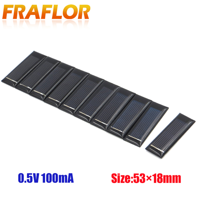 20PCS/Lot Mini Small 0.5V 100mA Solar Cell Panel Solar Module Accessories For Science and Technology Toy DIY Study 53*18mm