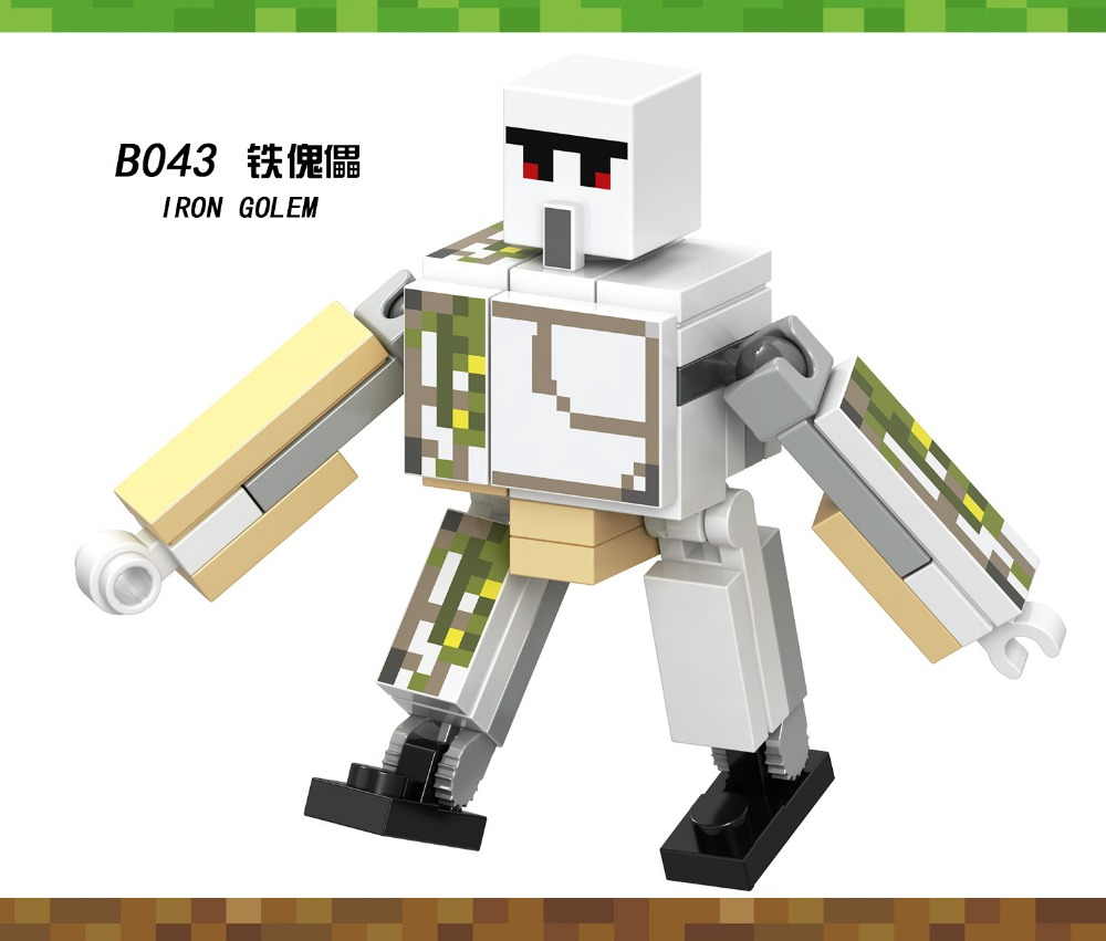Blocks Model Building Kind-Hearted Minecraft Legos Action Figure Toy My Wold Iron Golem Legoingly Figurine Diy Legoings Blocks Bricks Child Toys Kids Toys For Gift