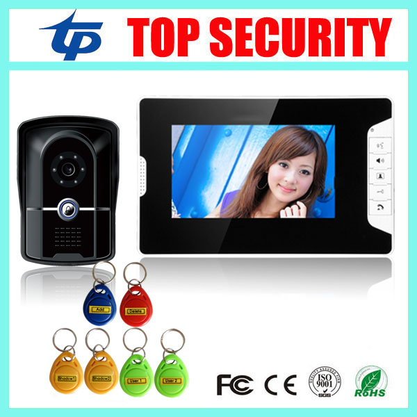 RFID card access control 7 inch video door phone system with RFID card reader 200 users wired door bell door video intercom yobangsecurity wired 7 inch lcd video door bell phone intercom rfid card access control home gate entry system with door lock