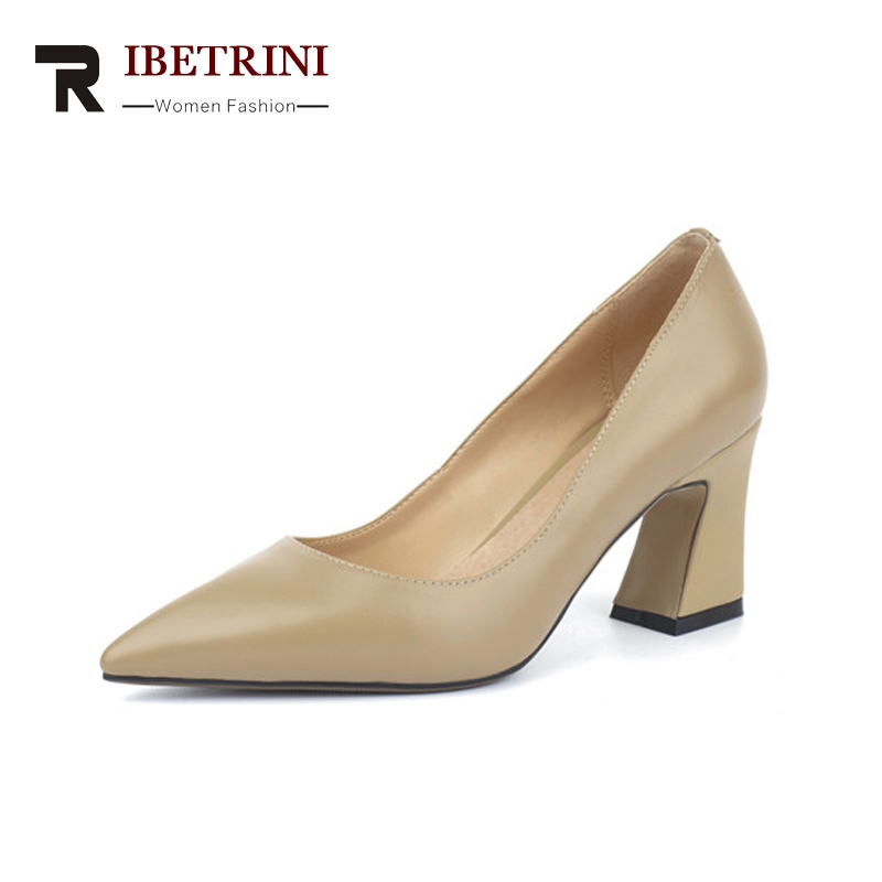 RIBETRINI Women's Genuine Leather Square High Heels Office Shoes Woman Pointed Toe Slip On Pumps Size 34-39 krazing pot shallow fashion brand shoes genuine leather slip on pointed toe preppy office lady thick high heels women pumps l18