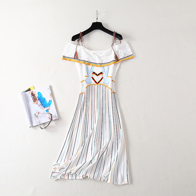 0bfe0f9376dfc US $50.14 15% OFF|Aliexpress.com : Buy HIGH QUALITY New Fashion 2019  Designer Runway Women's Sling Strap Colorful Ruffles Slash Sleeve Bird  Heart ...