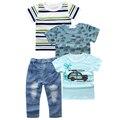 XT-254 Meninos conjunto de roupas de jeans calças um com três T-shirt dos desenhos animados de algodão conjunto de roupas meninos roupas roupa dos miúdos
