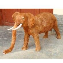 plastic furs brown elephant model artificial elepahnt 130x65cm handicraft prop home garden decoration gift d2390