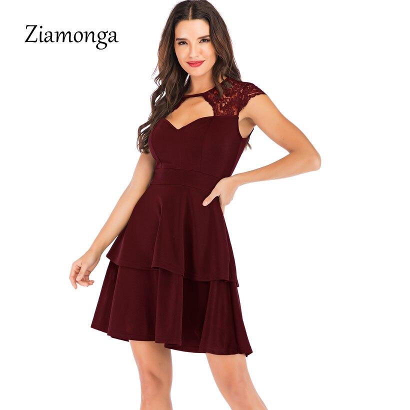 d4cb67ce485 Ziplusa 2019 nouvelle mode femmes Bandage robe sans manches à volants a  ligne dentelle robe noir rouge voir à travers o cou automne Sexy robe dans  Robes de ...
