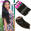7A 360 Lace Frontal Closure With Bundles Brazilian Straight Virgin Hair With Frontal Closure 3 Bundles Human Hair With Closure