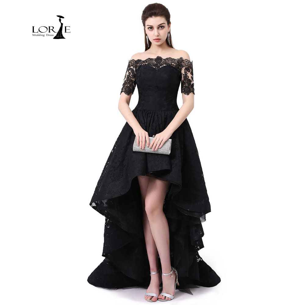 Us 8905 35 Offlorie Lace Dresses Low Vestidos De Graduacion Largos 2019 Off The Shoulder Prom Dress Short Sleeve Party Dress Black Hi Low In Prom