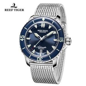 Image 2 - Reef Tiger/RT Top marka męskie mechaniczne zegarki do nurkowania szafirowa kryształowa bransoletka zegarki niebieski zegarek świetlny wodoodporny RGA3035
