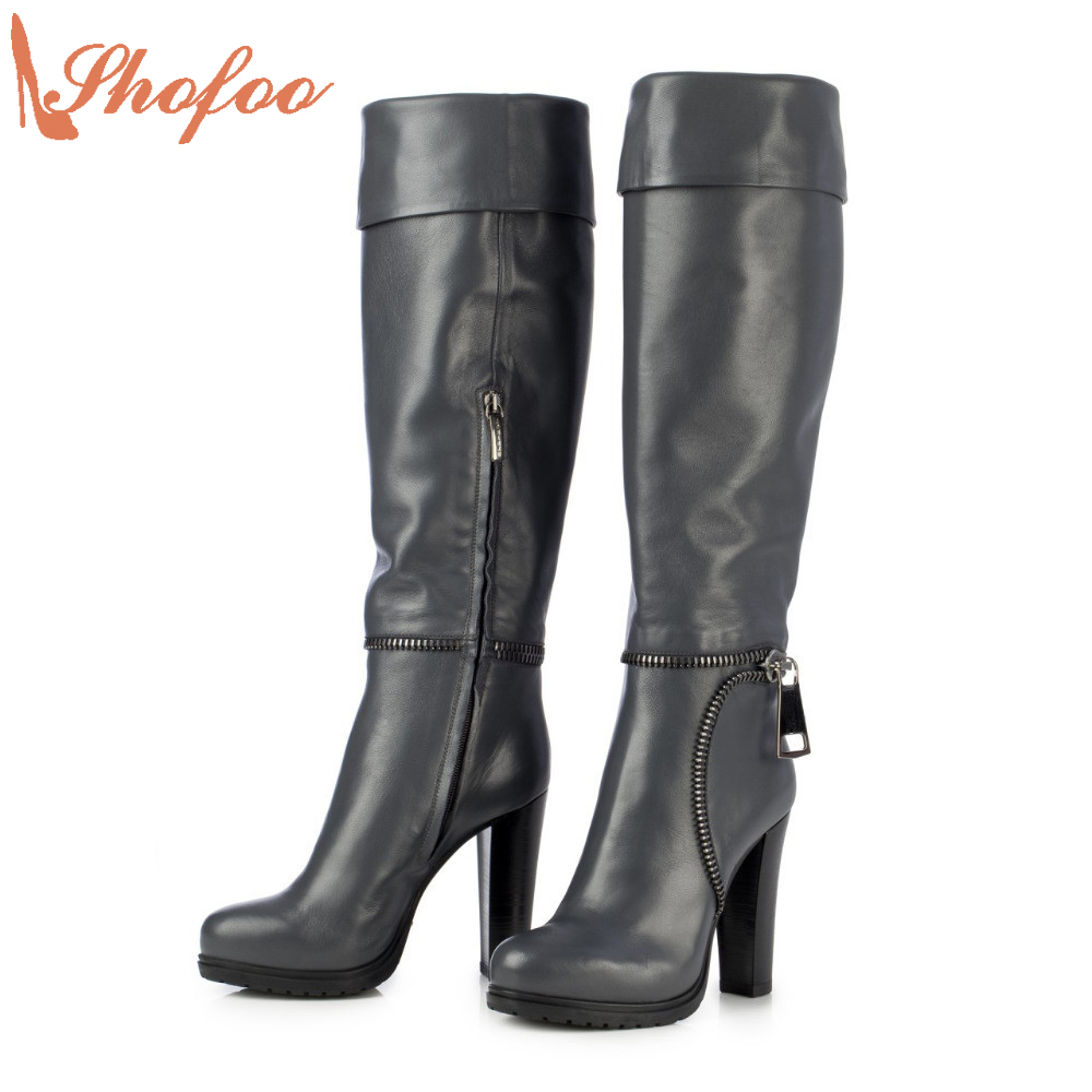 2017 Autumn Winter Women Long Boots Navy Blue Boots High Heels Round Toe Zipper Dress Casual Black Botas Large Size 4-16 Shofoo