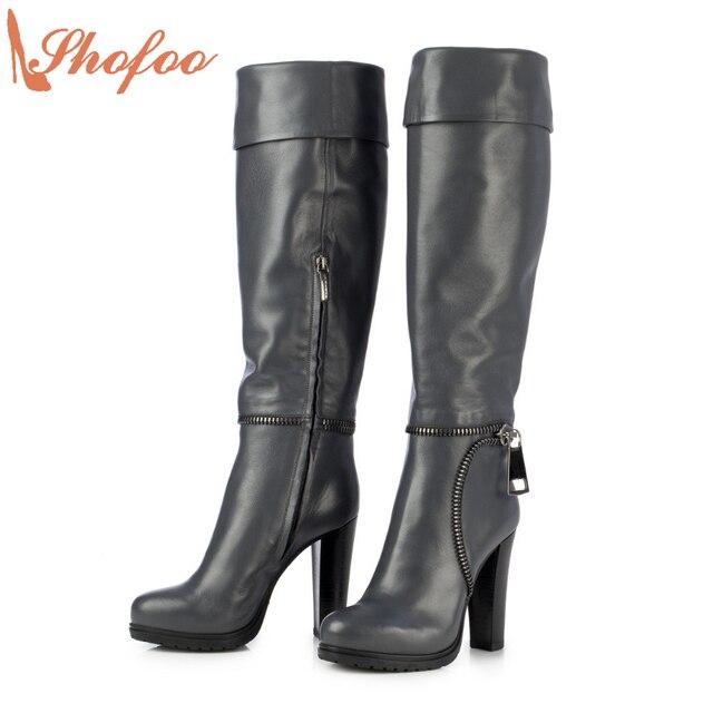 2017 Autumn Winter Women Long Boots Navy Blue Boots High