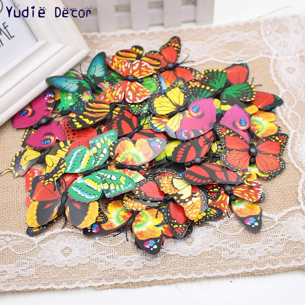 HOT selling NEW 3 sizes10pcs/lot beautiful Magnet Butterfly for DIY art Wedding car Marriage room refrigerator decoration Metope