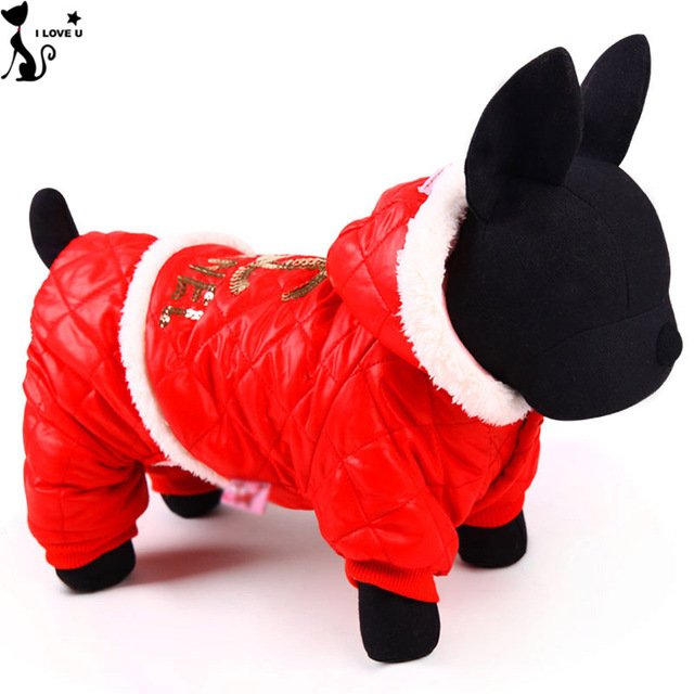 Waterproof Leather Dog Down Coat Pet Dog Clothes in Winter Dog Parkas Down Wear Jacket For Cat Clothing Christmas Size XXS-L 040