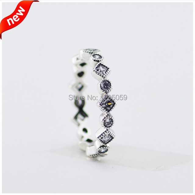Round and Square Eternity Silver Rings for Women 100% 925 Sterling Silver Fashion Jewelry with Clear CZ FLR15040