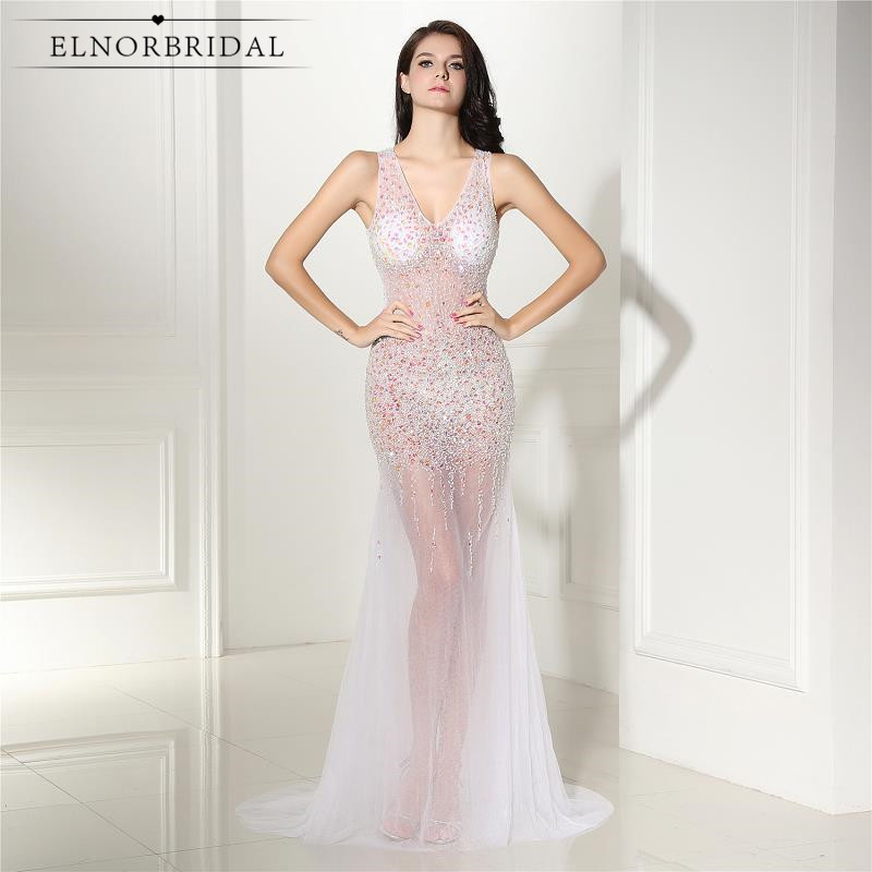 Sexy Mermaid Evening Dress 2017 See Through Robe De Soiree Open Back Prom Dress Sheer V Neck Women Formal Evening Party Dress