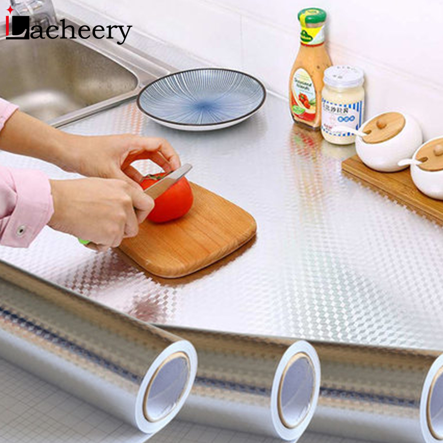 Modern Kitchen Backsplash Self Adhesive Wallpaper Stove Countertop Cabinet Aluminum Foil Waterproof Oil-proof Decorative Sticker