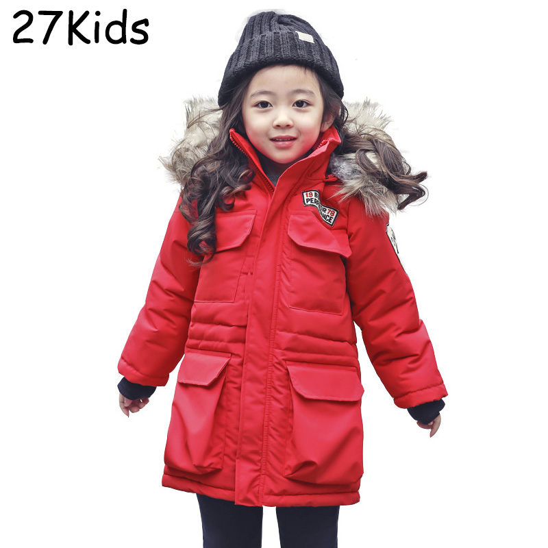 2017 New Winter Girls Warm Down Coat Long High Quality Brand White Duck Down Kids Jacket Outerwear Parka For Teenagers 5-14 Age russia winter boys girls down jacket boy girl warm thick duck down