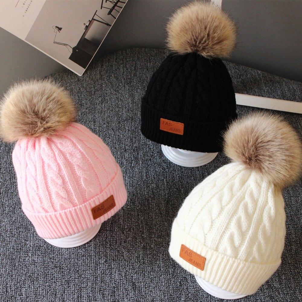 2018 Neue Dicke Kinder Kappe Mädchen Winter Warme Mütze Kinder Winter Hut Für Mädchen Jungen Hut Gestrickte Mützen Pom Pom Kappe Marke Die Neueste Mode